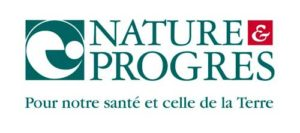 """Logo Nature et Progrès. Slogan """"Pour notre santé et celle de la Terre"""""""